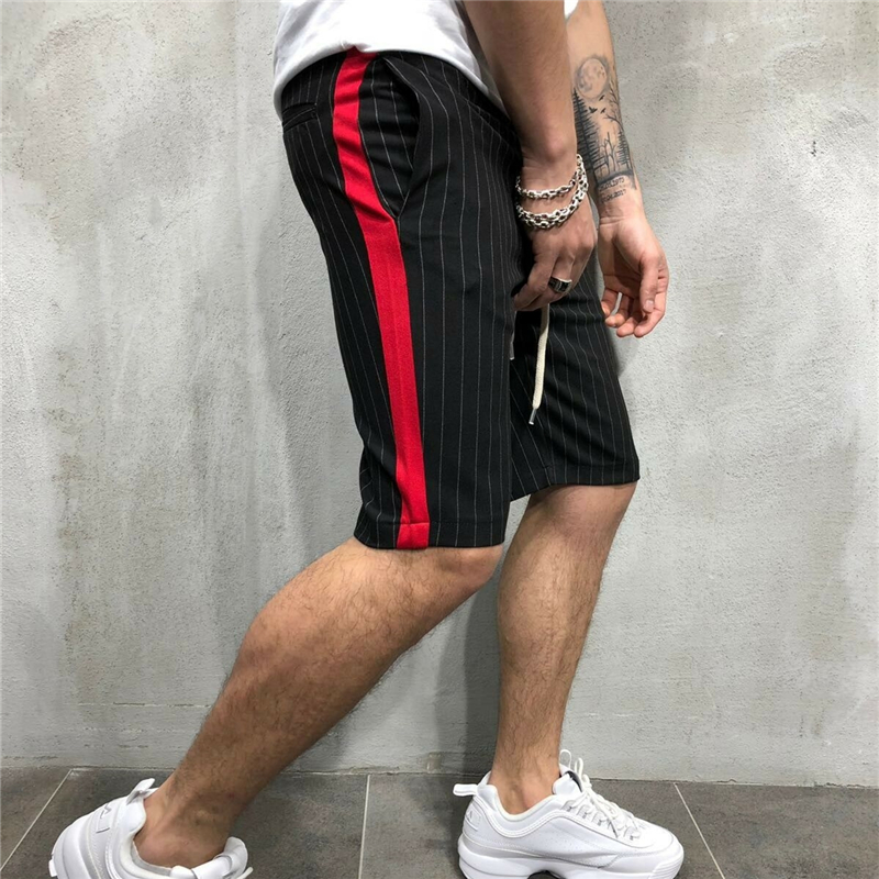 Vogue Men New Striped Shorts Pockets Elastic Waist Drawstring Knee-Length Shortpants Side Striped Casual Shorts Male