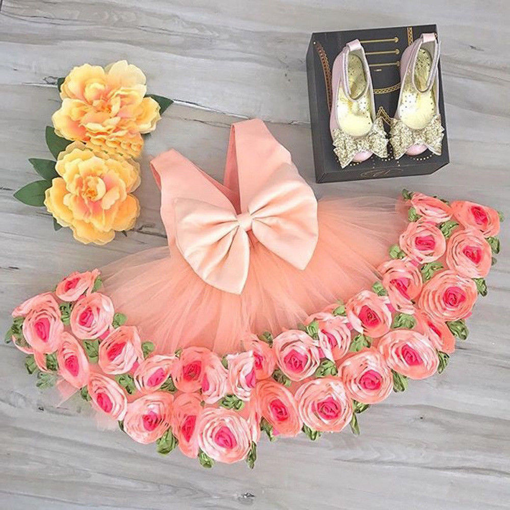 2019 Formal Kid   Flower     Girl     Dress   Princess Bridesmaid Party Wedding Pageant   Dress