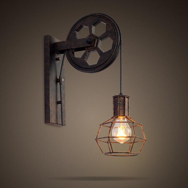 בציר כלוב תליון אור גלגלת ברזל קרפט קלע חבל מדרגות מסדרון קיר אורות Stand מנורות רטרו תליון ללא הנורה