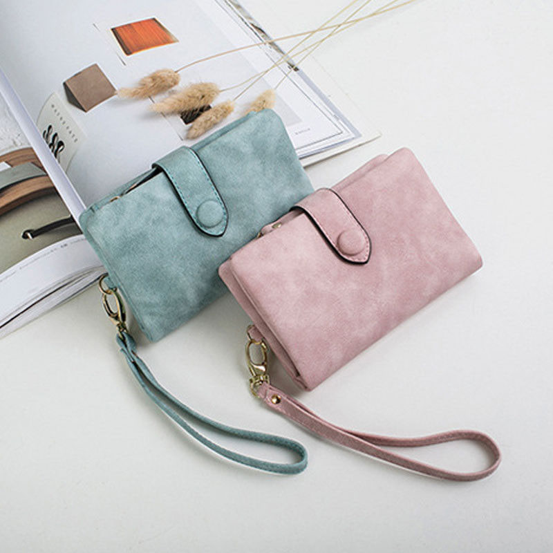 2019 Lady Woman PU Leather Money Clips Bag Clutch Wallet Short Purse Holder Clutch Packs Solid Cute Fashion New