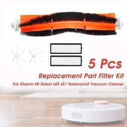 5 шт щётка для пылесоса + 2 xHEPA фильтр + 2 xSide кисти запасная часть Комплект фильтров для Xiaomi Mi робот s50 s51 Roborock 2