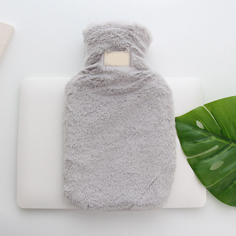 Outdoor Bottle Faux Fur Winter Plush Portable Hot Water Bag With Cover Rubber Gift Hand Warmer Water-filled Cute