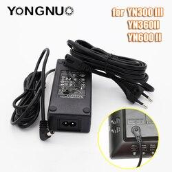 Yongnuo yn600 adaptador ac fonte de alimentação carregador adaptador ac entrada para saída dc ce passado para luz de vídeo led yn600 yn360ii yn300iii
