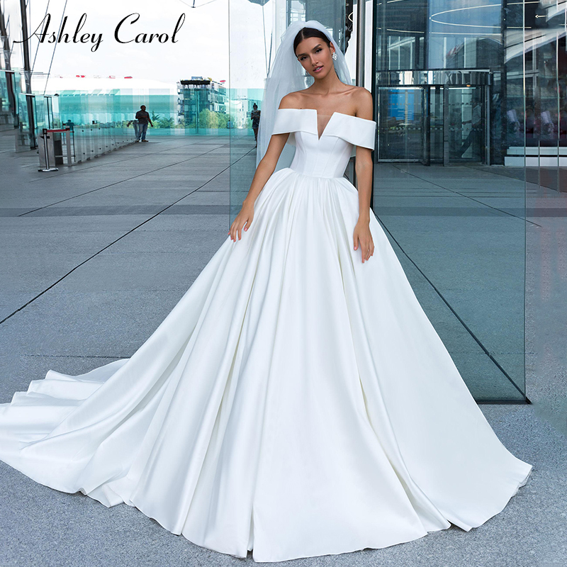 Ashley Carol Sexy Boat Neck Cap Sleeve Satin Wedding Dress 2019 Court Train French Bride Dresses Simple Princess Wedding Gowns