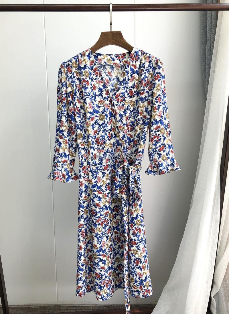 Viscose 100% 꽃 인쇄 랩 v 목 허리 넥타이 짧은 미니 드레스 2019ss 여성 세련 된 드레스-에서드레스부터 여성 의류 의  그룹 1