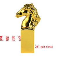 Hot Fashion Chinese Style Horse Shape 24KT Gold Plated Alloy Seal Stamp With Gift Box Gift for Friend