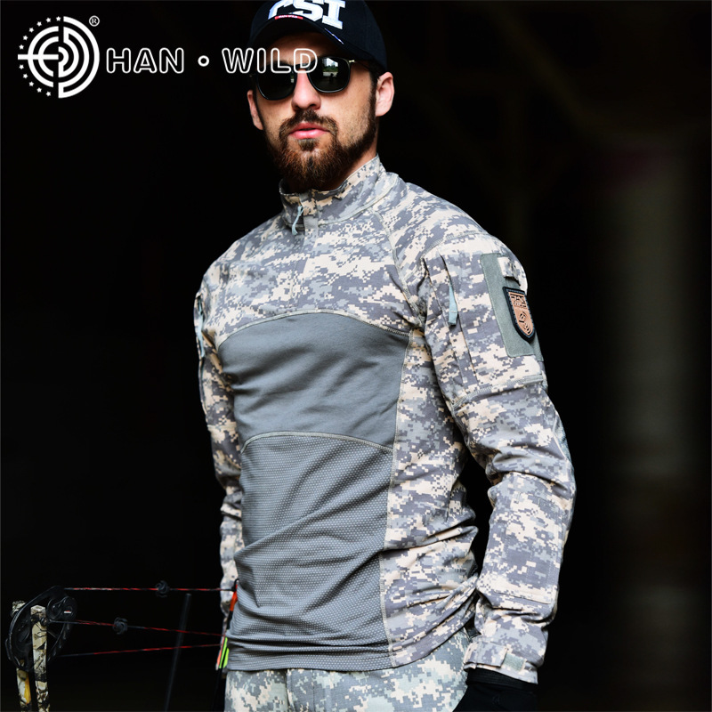 New Outdoor Camouflage tactical Hot t shirt long mens sports suits Cotton 2019 Climb 100% breathable ACU CP tactical jackets