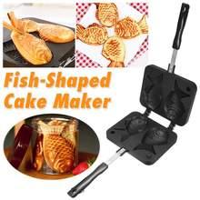 Домашняя антипригарная японская рыба тайяки в форме Жаростойкие формы для вафель сковорода 2 формы для выпечки торта инструменты