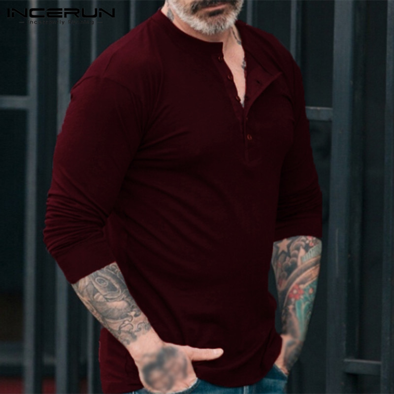Stylish Mens Shirts Dress Long Sleeve Henley Shirts Plain Crew-Neck Male T shirts Camisa Hombre Autumn Muscle Tee Tops INCERUN