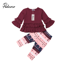 Toddler Kids Baby Girls Clothes Outfits Ruffle Tops Dress+Floral Pants Set 6M-4Y