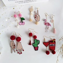 Asymmetric Hair Ball Velvet Drop Earring Hair Ball Asymmetric Earrings Cartoon Animal Cactus Embroidery Earrings