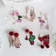 Asymmetric Hair Ball Velvet Drop Earring Earrings Cartoon Animal Cactus Embroidery