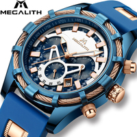 MEGALITH Luxury Mens Watches Waterproof Sports Chronograph Quartz Wrist Watches Blue Silicone Strap Clock Relogio Masculino