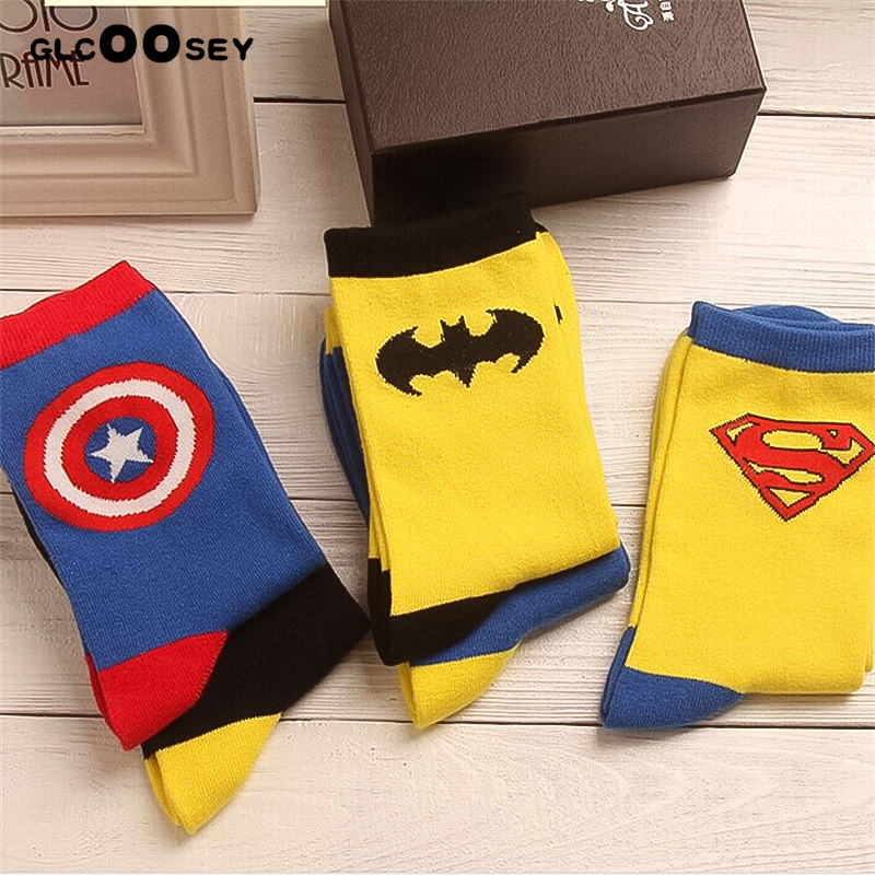 Avengers  Cartoon Socks Batman Superman Joker Cosplay Fashion Sock Novelty Funny Casual Men Sock Spring Summer Socks Hot