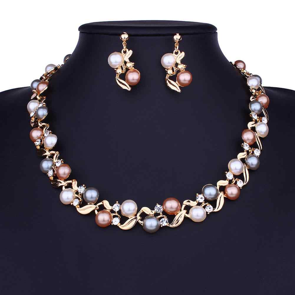 XIUFEN 2pcs/set Women Gold Silver Color Jewelry Set Imitation Pearl Necklace Earring Jewelry Set