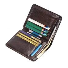 Genuine Leather Men Short Trifold Wallet Multi Slots Credit Card Holders Male Clutch Wallets Vintage Leather Purse Money Bags цены