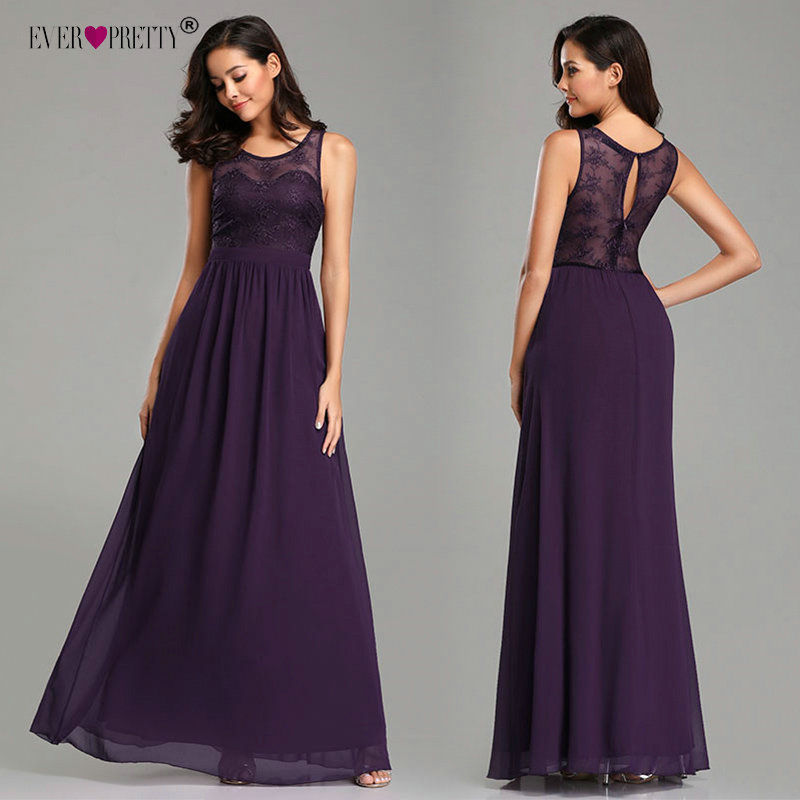 Purple   Bridesmaid     Dress   2019 Ever Pretty Elegant A-line Long Lace Appliques Chiffon Wedding Party Gowns Special Occasion   Dresses