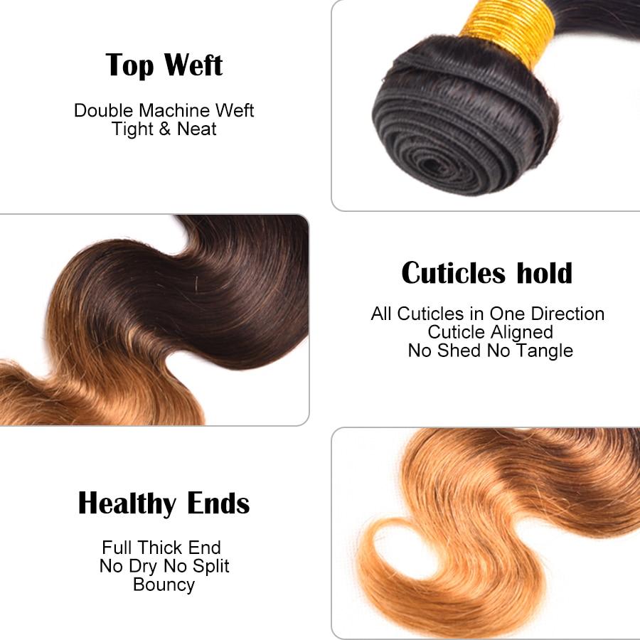 Ombre Hair Bundles Body Wave Bundlar T1B / 4/27 Brazilian Hair Weave - Mänskligt hår (svart) - Foto 2