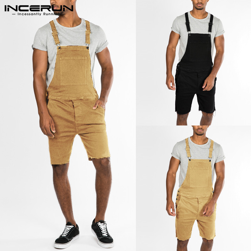 Chic Vacation Sets Men's Rompers Denim Overalls Bib Jumpsuits Shorts Overall Harajuku Rompers Cowboy Summer Hiphop Coveralls