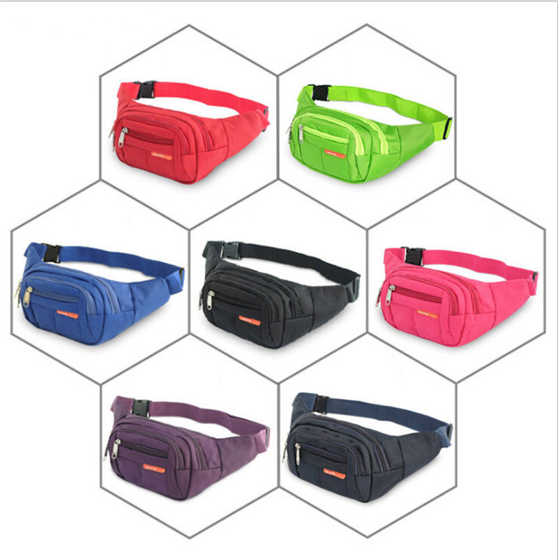 New Men's Waist Bag Casual Sports Solid Color Portable Large Capacity Nylon Waterproof Waist Pack Belt Bag  Chest Bag