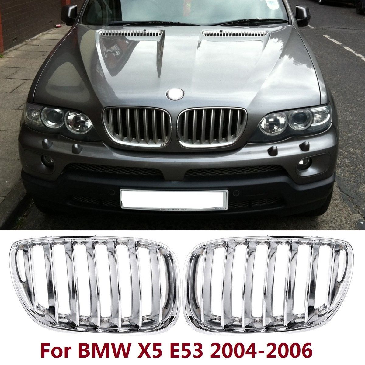 2pcs high quality ABS Plastic with Chrome Coated Front Bumper L&R Hood Sport Kidney Grilles for BMW X5 E53 2004 2006