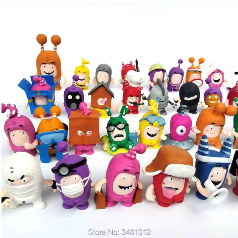 5,5cm:Fuse Pogo Bubbles Slick Jeff Newt Zee Oddbods Set of plastic figures 7pcs