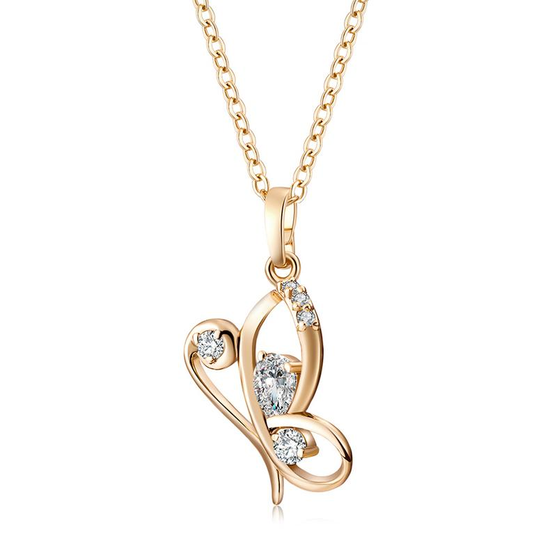 Women Lady Necklace Gold Dancing Butterfly Pendant Exquisite Zircon Necklace Sweater Chain