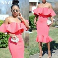 NYZY C112 Off Shoulder Satin Robe Cocktail Graduation Dresses Coral Ruffles Party Gown Guest Wear vestido de madrinha 2019