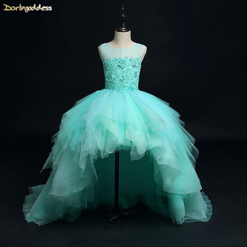 High Low Green Pageant   Dresses   for   Girls   Ball Gown First Holy Communion   Dresses   Puffy Kids   Flower     Girls     Dresses   for Weddings