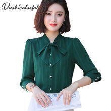 Chiffon Blouse women bow tie Blusas egelant formal long sleeve plus size tops professional work wear office ladies blouse
