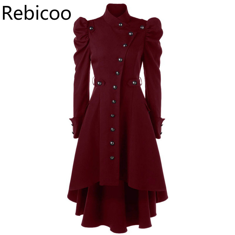 Women   Trench   Coat British Style Slim Long Coat Gothic Stand Collar Outwear Plus Size Party Clothes