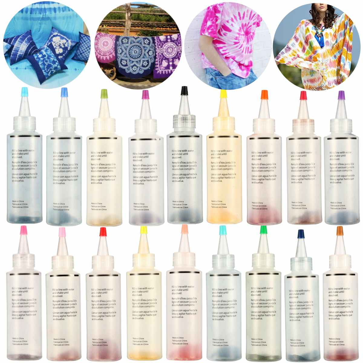 18Pcs/set DIY One Step Tie Dye Kit Activated Dye for Fabric Textile Permanent Paint Colors Clothing Painting DIY Craft Supply18Pcs/set DIY One Step Tie Dye Kit Activated Dye for Fabric Textile Permanent Paint Colors Clothing Painting DIY Craft Supply