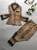2019 Summer Women Pajamas Sets With Pants Silk Homewear Turn Down Collar Women Ice Silk Leopard Print Sexy Pajama Sets