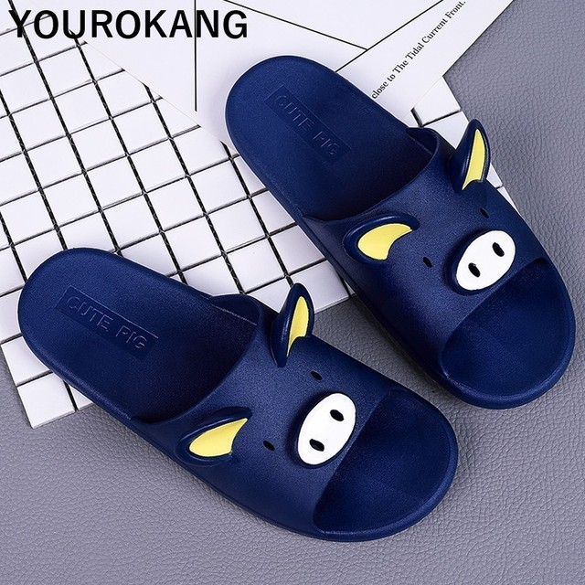 Summer Couple Shoes Home Slippers Cute Indoor Non-slip Bathroom Slippers For Lovers Pig Cartoon Women Slippers Lovely Household 4
