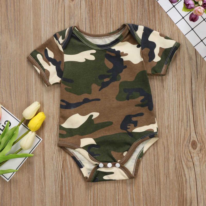 Камуфляжная детская одежда с рисунком для мальчиков и девочек короткий рукав детские комбинезоны комбинезон Повседневное новые летние новорожденных детская одежда 0-24 м
