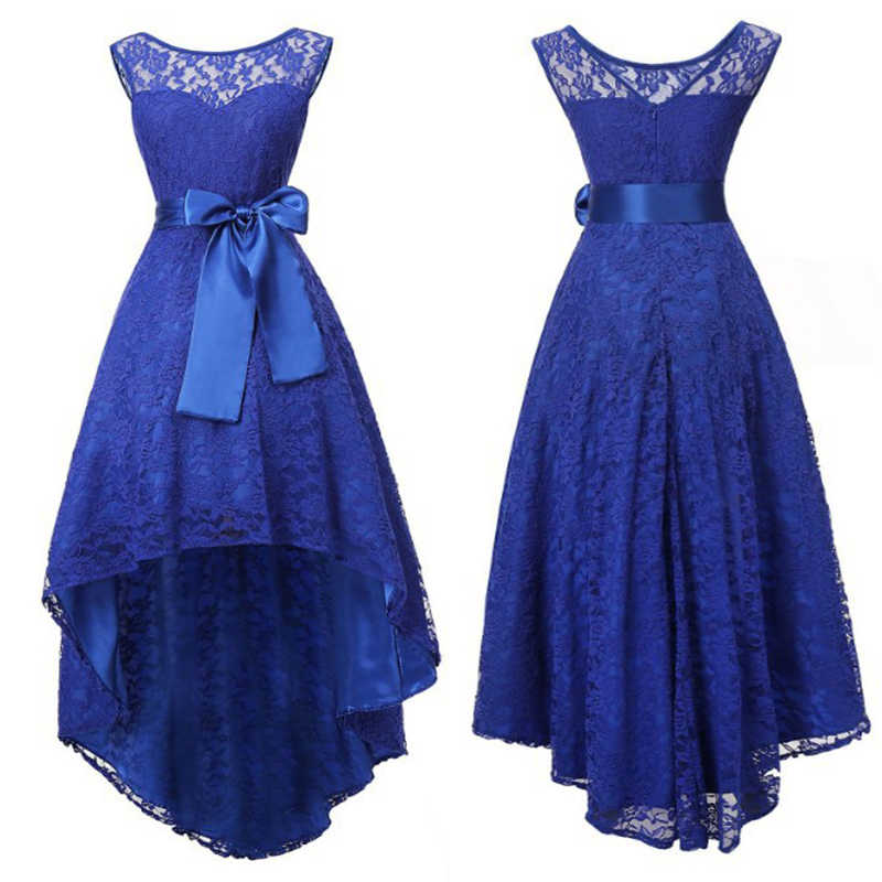 5 kolory Plus rozmiar 5XL kobiety koronkowa sukienka joinele wysoki niski nieregularne kobiety sukienka wokół szyi bez rękawów pasy Party Vestidos