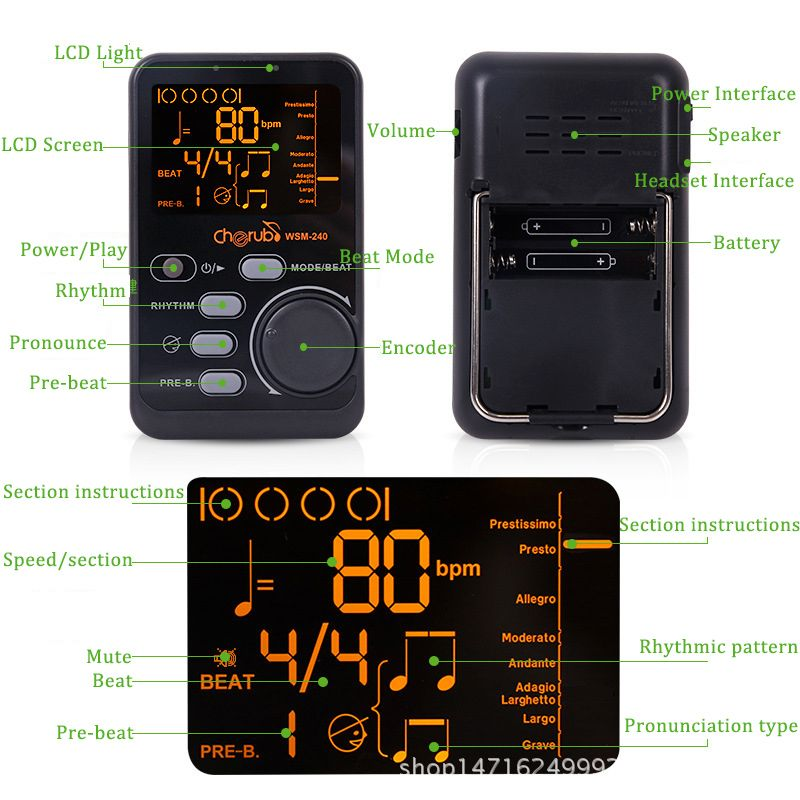 US $12 49 |Portable Guitar Piano Metronome Digital LCD Clip on Digital  Tuner Metronom for guitar Violin Bass Musical Instruments WSM 240-in Guitar