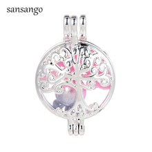 Tree Of Life Pearl Cage Pendant Golden /Silver Locket Pearl Cage Pendant For Man Jewelry DIY Bead Aroma Diffuser(China)