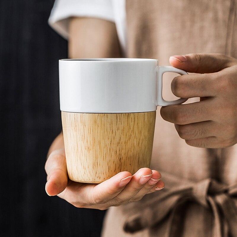 Wood Bottom Ceramic Mugs Home Office Drinking Coffee Milk Tea Cups Novelty Gifts