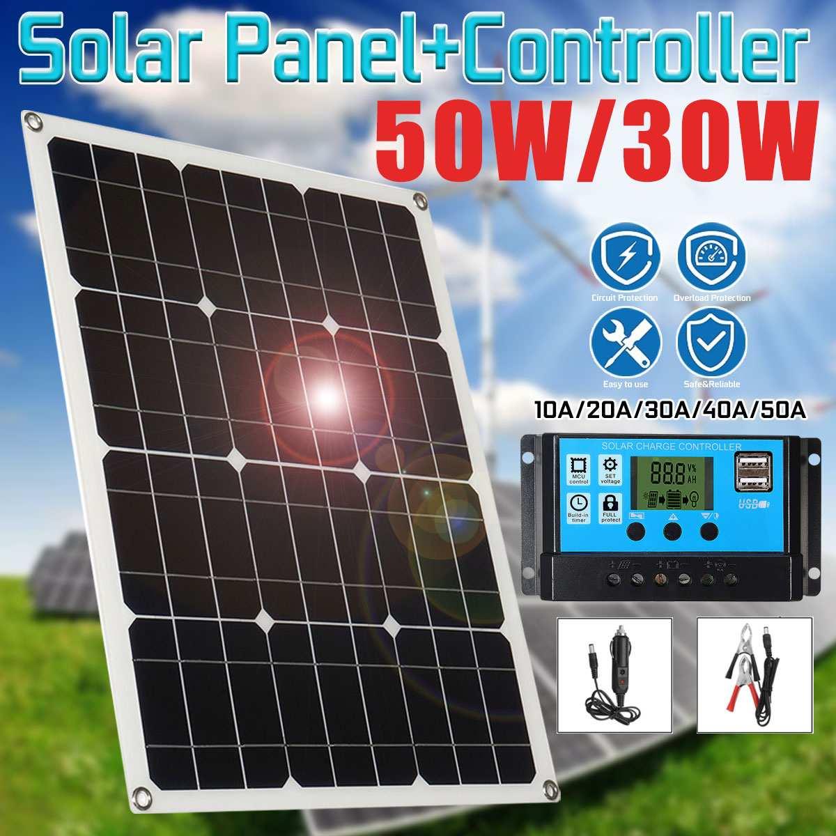 Panneau solaire 18 V 50 W 2 USB chargeur solaire cellules solaires Poly panneau solaire + contrôleur 10/20/30/40/50A pour batterie de voiture 12 V câble MC4