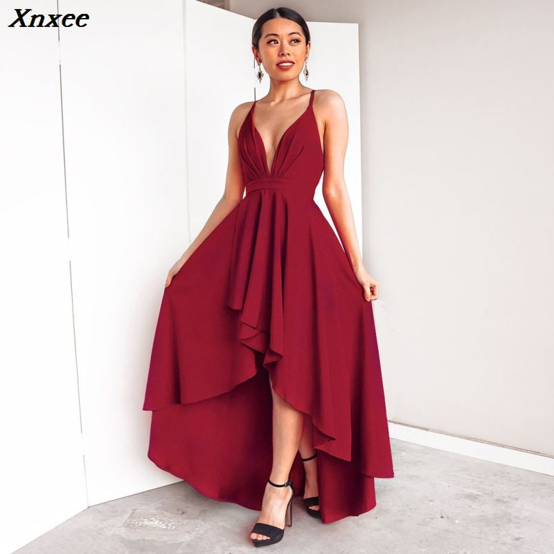 2018 New Pattern High Low Dresses Backless Criss Cross Sexy V neck Special Occasion Party Gown Cheap Robe De Soiree in Dresses from Women 39 s Clothing