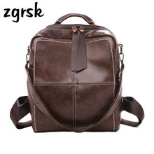 купить Retro Women Brown Backpack For Female Pu Vintage Leather Shoulder Bags Solid Teenage Girls School Backpacks Travel Bag Pack дешево