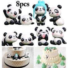 Décoration de gâteau, dessin animé Panda, 8 pièces, Version ludique, décoration créative pour gâteau de fête en forme de Micro paysage, poupée mignonne