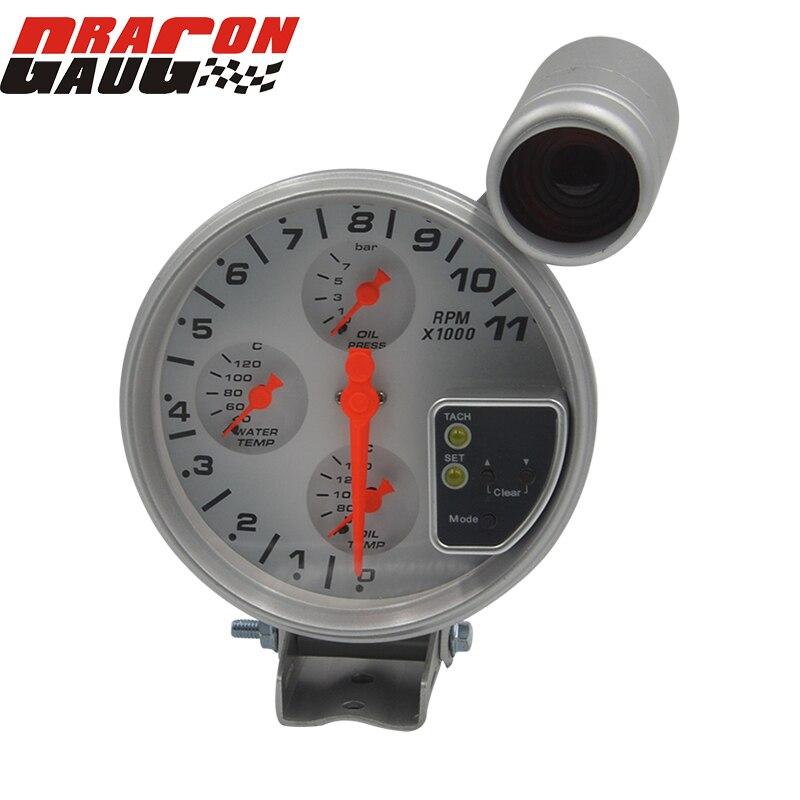 Dragon gauge 5 pouces 4 en 1, jauge de température d'eau et d'huile, tachymètre avec capteurs, automatique