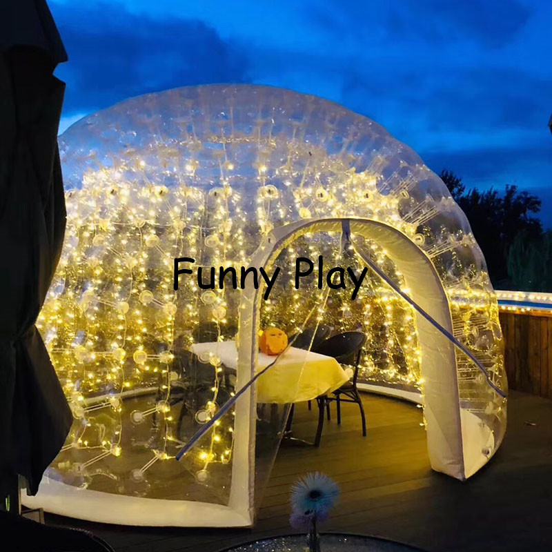 inflatable airtight camping tent half clear half black bubble house for hotel rental,Family Camping Backyard Advertising - 4