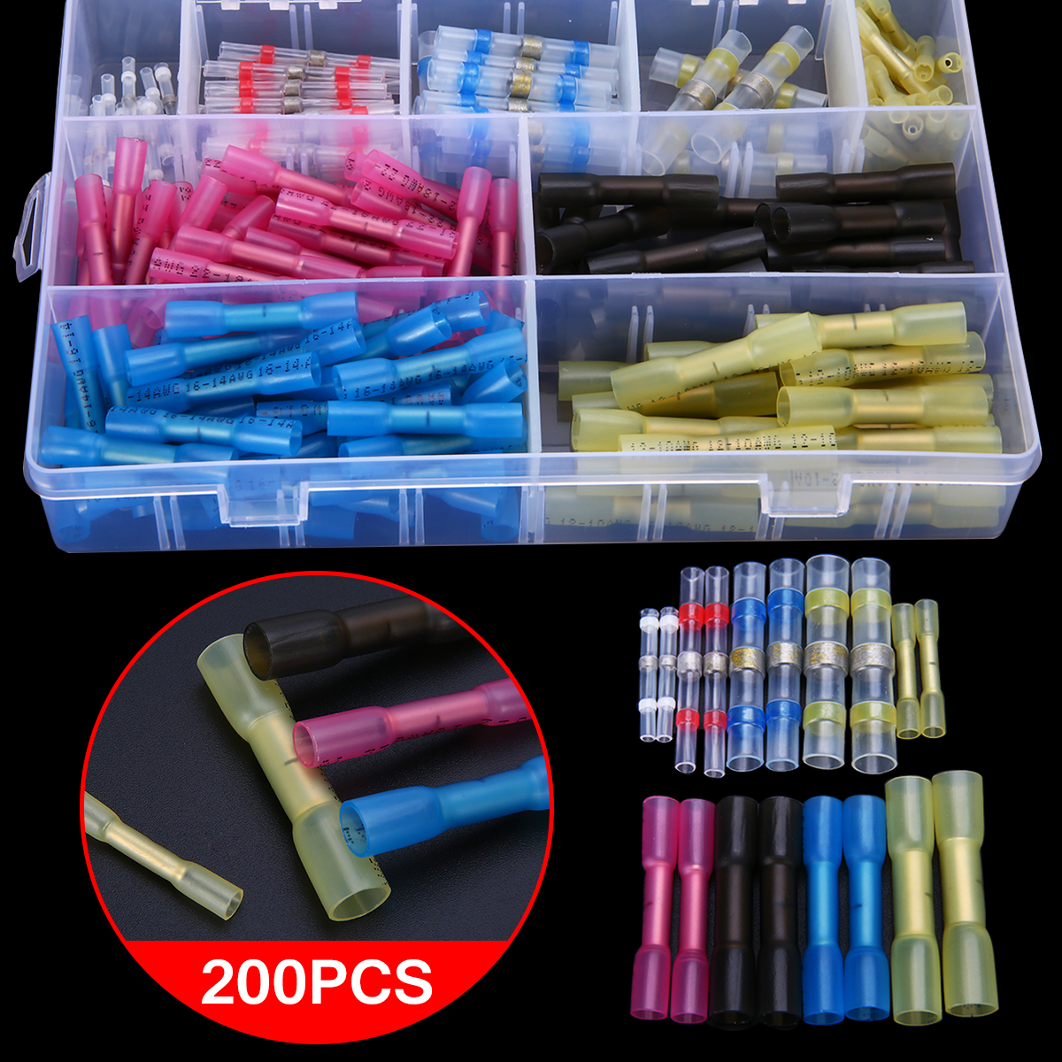 200pcs New Heat Shrink Terminals Insulated Heat Shrink Solder Connectors Wire Butt Connector 200pcs mixed heat shrink terminals solder sleeve tube electrical insulated butt connectors with box 16 14awg kit