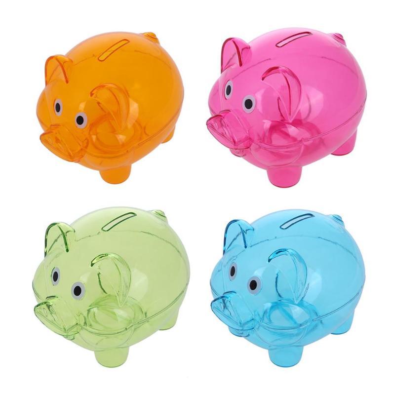 Cartoon Schwein Geformt Sparschwein Kunststoff Klar Transparent Geld Box Kinder Cash/münze Saving Sichere Box Home Decor Hindernis Entfernen Haus & Garten