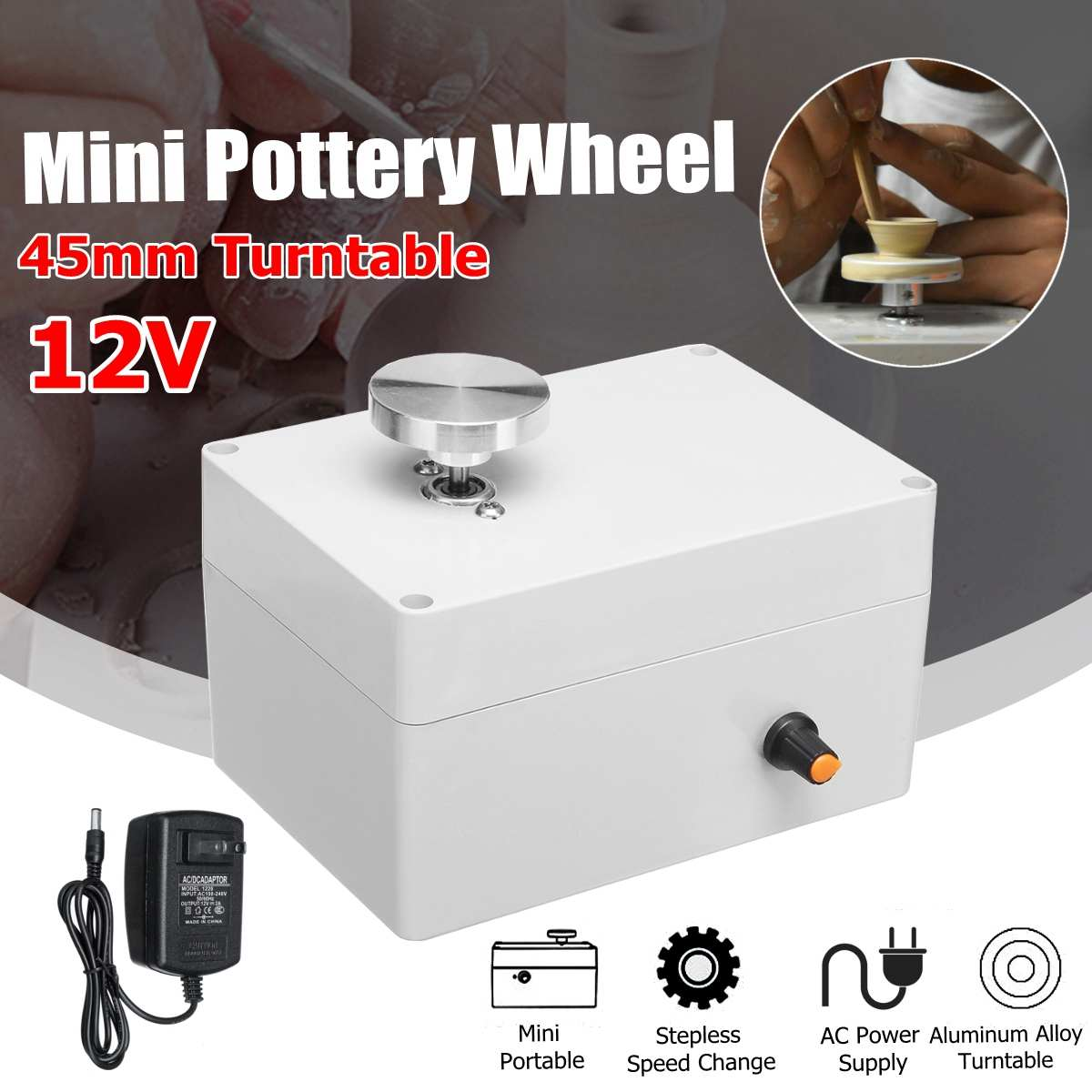12V Aluminum Alloy Fingertip Mini Pottery Wheel 4.5cm Turntable Knob Stepless Speed Change