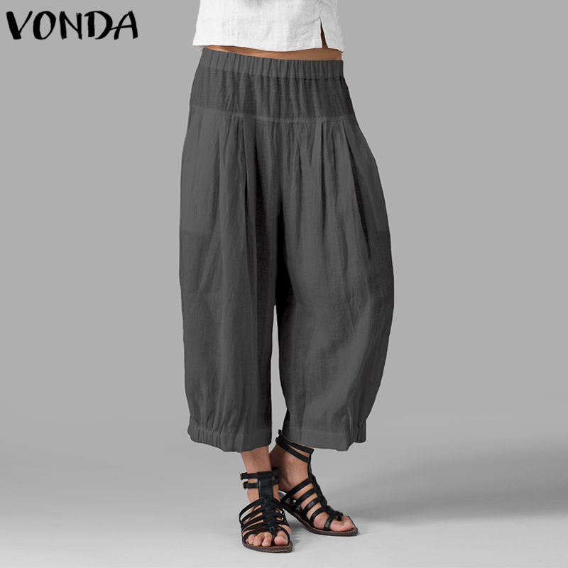 VONDA Women Casual   Wide     Leg     Pants   2019 Spring Autumn High Waist Solid Harem   Pants   Plus Size Loose Trousers Vintage Baggy Bottoms