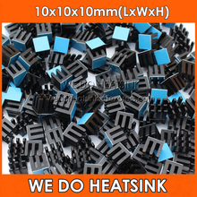 WE DO HEATSINK Black 10x10x10mm Aluminum Heat Sink IC Memory Chip Heatsink Cooling Cooler With Thermal Heat Transfer Tapes